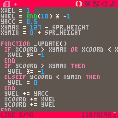 PICO-8 code to bounce a ball.